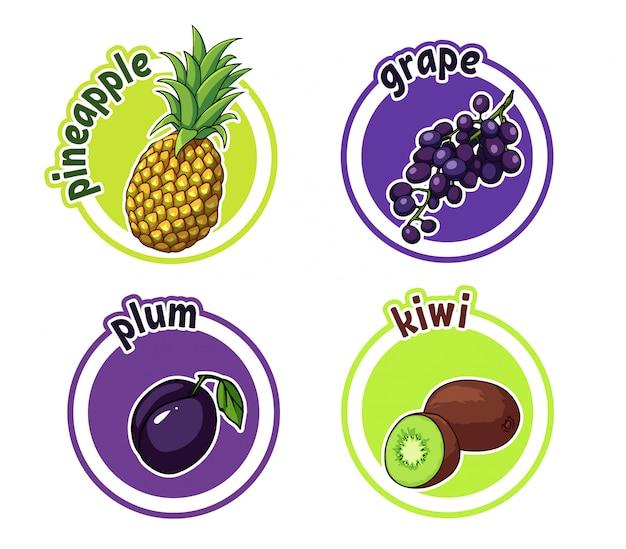 Vier aufkleber mit verschiedenen früchten. ananas, traube, pflaume und kiwi.