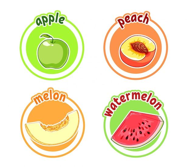 Vier aufkleber mit verschiedenen früchten. apfel, pfirsich, melone und wassermelone.