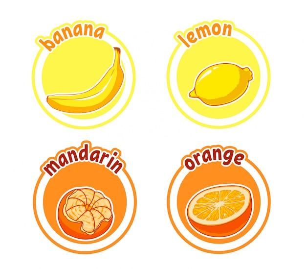 Vier aufkleber mit verschiedenen früchten. banane, zitrone, mandarine und orange.