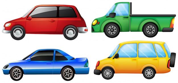 Vier autos mit verschiedenen farben