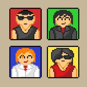 Vier avatare mit pixel-art-stil