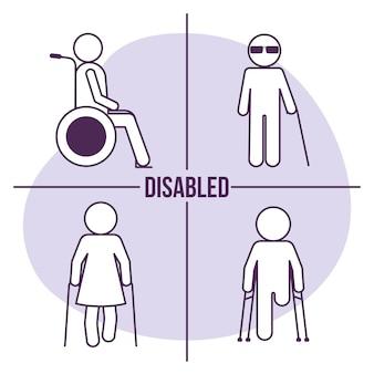 Vier barrierefreie symbole für barrierefreiheit disabled