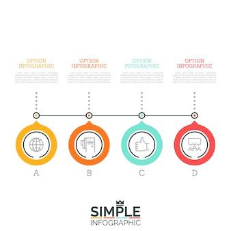 Vier beschriftete kreisförmige elemente, die nacheinander durch linien- und textfelder verbunden sind. 4 schritte des wachstumskonzepts des unternehmens. minimales infografik-design-layout.