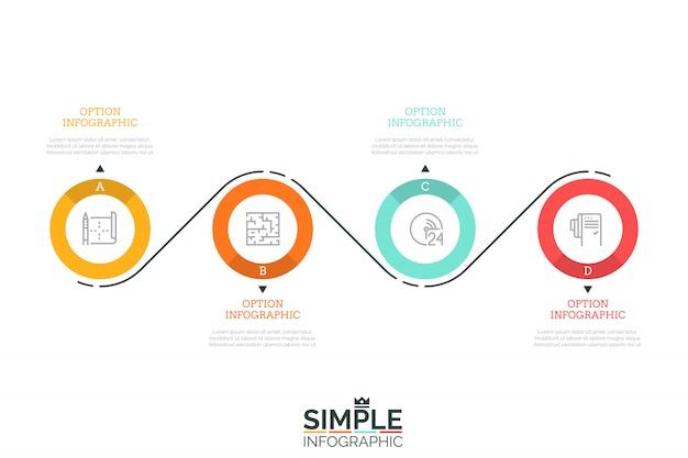 Vier beschriftete kreisförmige elemente mit piktogrammen im inneren und pfeilen, die auf textfelder zeigen, die durch eine gekrümmte linie verbunden sind. moderne infografik designvorlage.