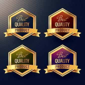 Vier beste qualität produkt-label-design-vektor