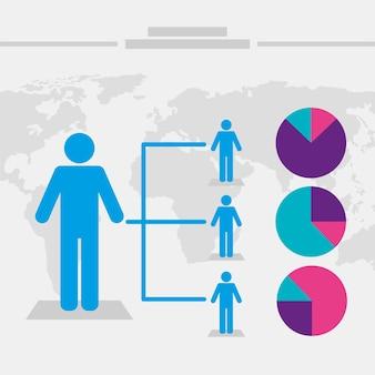 Vier bevölkerungsinfografik-symbole