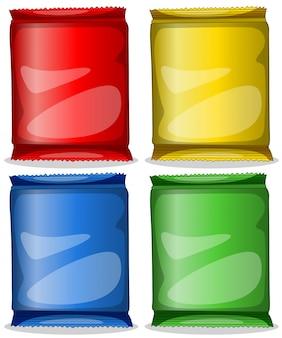 Vier bunte behälter