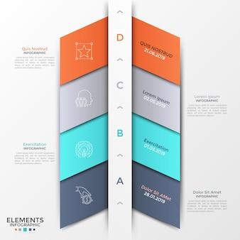Vier bunte diagonale bänder, buchstaben und dünne liniensymbole, die in einer horizontalen reihe angeordnet sind. konzept von 4 aufeinander folgenden schritten der startup-entwicklung. moderne infografik-design-vorlage. vektor-illustration.