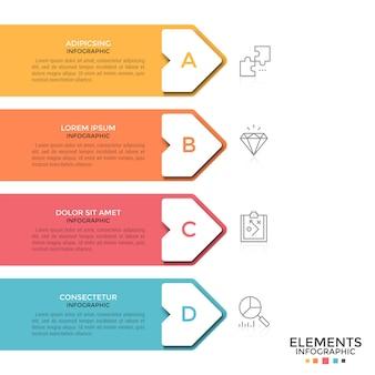 Vier bunte pfeile mit textfeldern und buchstaben im inneren, die untereinander platziert sind und auf dünne liniensymbole zeigen. konzept von 4 aufeinanderfolgenden schritten. moderne infografik-design-vorlage.