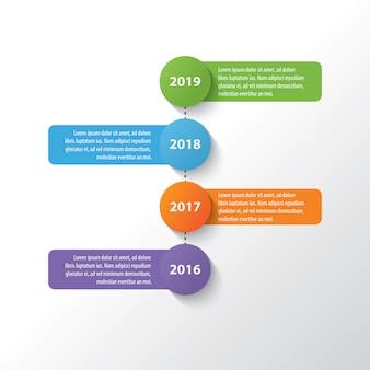 Vier bunte timeline infographik entwurfsvorlage
