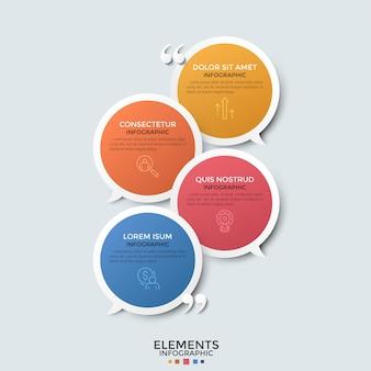 Vier bunte überlagerte runde sprechblasen, dünne liniensymbole, platz für text und anführungszeichen. konzept des dialogs oder der konversation. moderne infografik-design-vorlage.