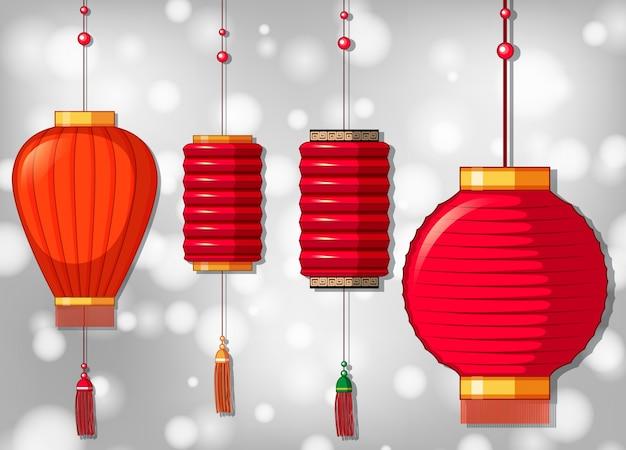 Vier chinesische laternen in verschiedenen designs
