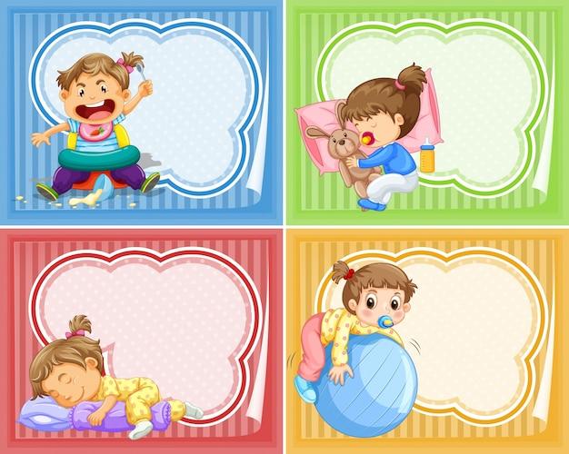 Vier designs von banner mit babys