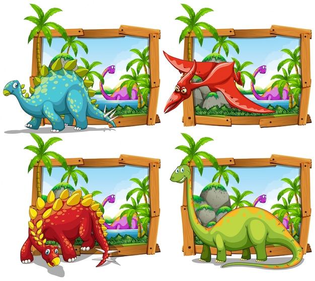 Vier dinosaurier-szenen am see