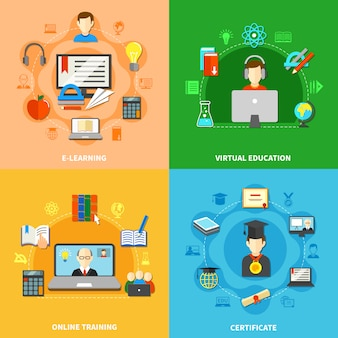 Vier e-learning-icon-set