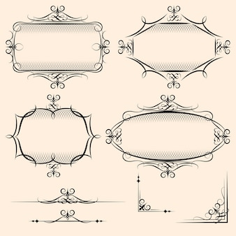 Vier elegante vektor-vintage-rahmen mit schattierungsdetails und schnörkeln zur verwendung als dekoratives element