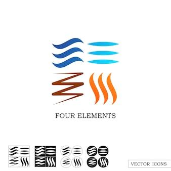 Vier elemente der natur. lineare symbole. wind, wasser, erde, feuersymbole. vektor-illustration.