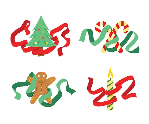 Vier elemente für die weihnachtsdekoration