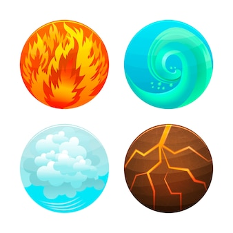 Vier-elemente-set. feuer, wasser, luft und erde