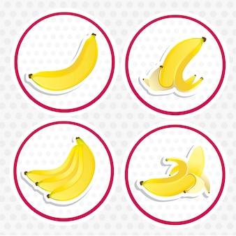 Vier etiketten von bananen auf verschiedene arten isoliert