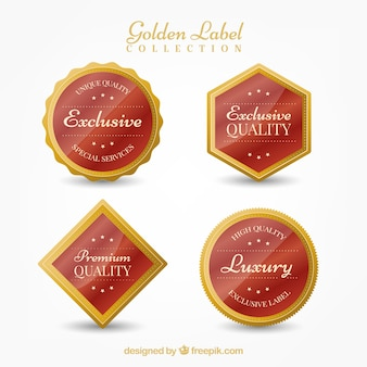 Vier exklusive goldene aufkleber