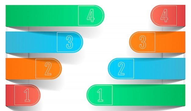 Vier farb-business-infografiken, gerundete papierpfeile.
