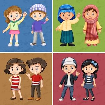 Vier farbige hintergründe mit glücklichen kindern