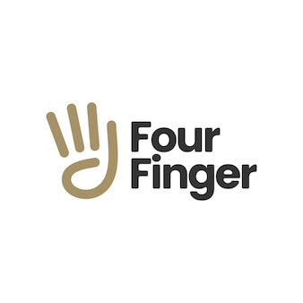 Vier-finger-handgeste-logo-symbolillustration