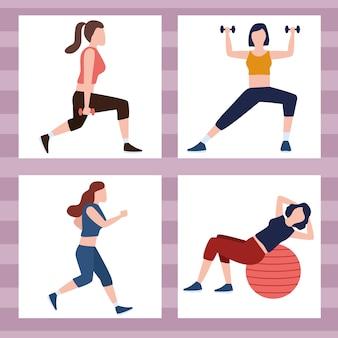 Vier fitness-personen Premium Vektoren