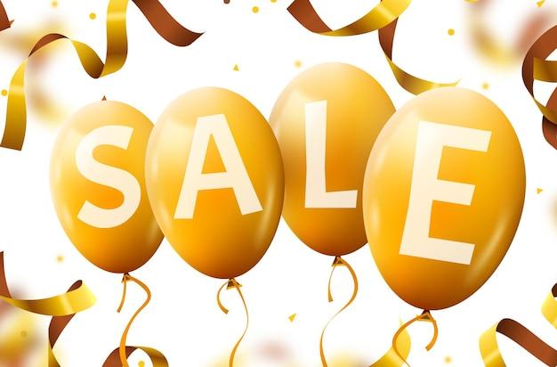Vier gelbe fliegende partyballons mit textverkauf