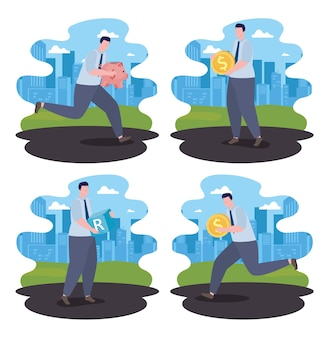 Vier geschäftsleute risikomanagement