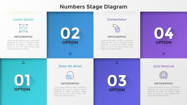 Vier gestaffelte quadratische elemente mit zahlen und pfeilen, die auf dünne liniensymbole und beschreibung zeigen. konzept der 4 stufen des fortschritts. infografik-design-layout. vektorillustration für die präsentation.