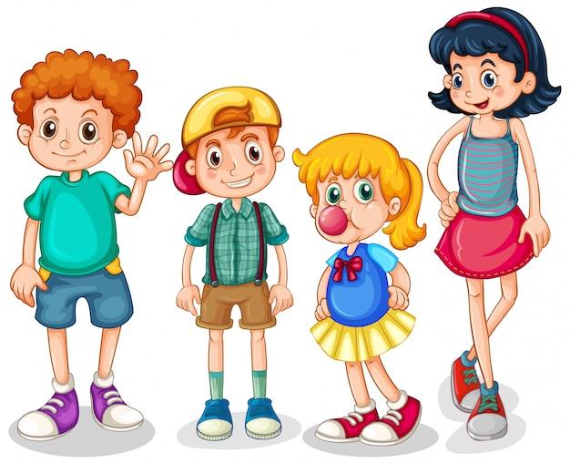 Vier glückliche kinder, die auf weißem hintergrund stehen