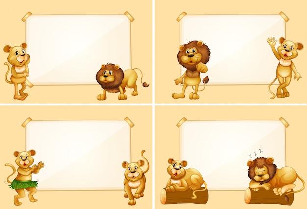 Vier grenzvorlagen mit niedlichen löwen
