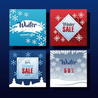 Vier große winterverkaufsbeschriftungen mit schneeflockenillustrationsentwurf