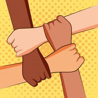 Vier hände, die sich halten