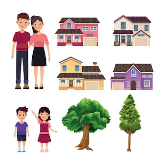 Vier häuser und familie