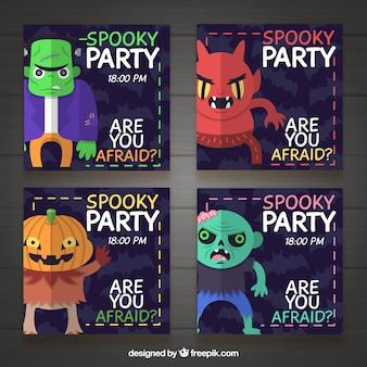 Vier halloween-einladungen