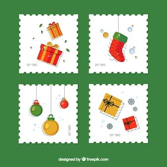 Vier hand gezeichnete weihnachtsstempel
