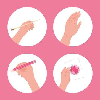 Vier handgemachte projektsymbole