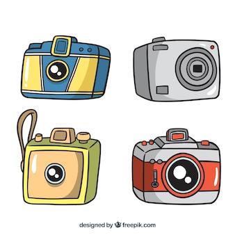 Vier handgezeichnete kameras