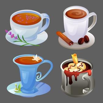 Vier heiße getränke mit verschiedenen tassen