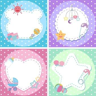 Vier hintergrunddesigns mit babythema