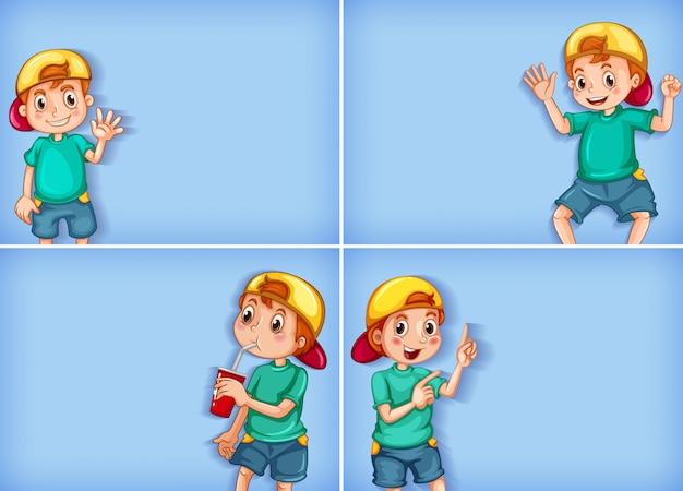 Vier hintergrundschablonenentwürfe mit glücklichem jungen