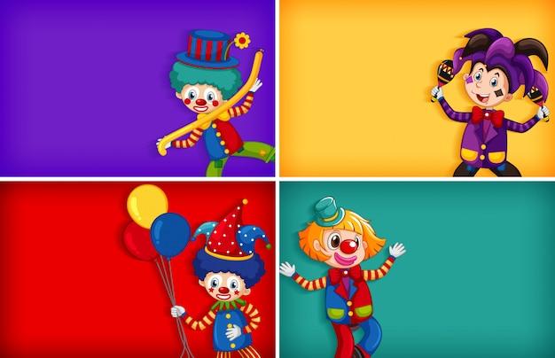 Vier hintergrundschablonenentwürfe mit lustigem clown