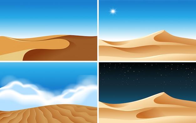 Vier hintergrundszenen von wüsten zu verschiedenen zeiten