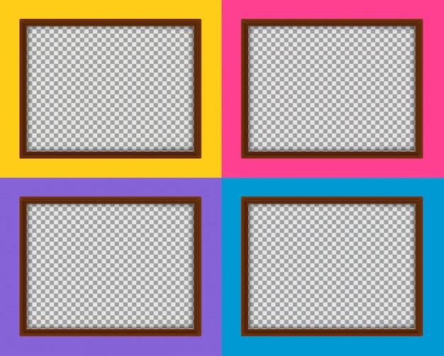 Vier holzrahmen mit verschiedenen farbigen hintergründen