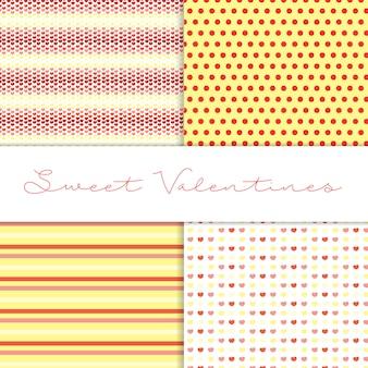 Vier hübsche valentinstagmuster