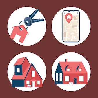 Vier immobilien-set