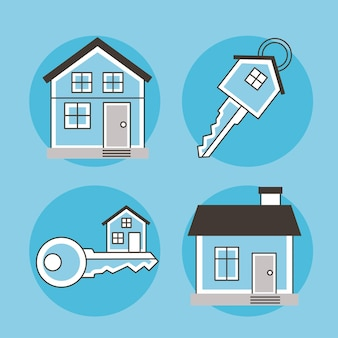 Vier immobiliensymbole